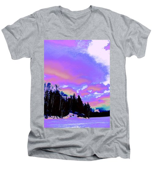 Winter  Snow Sky  Men's V-Neck T-Shirt by Expressionistart studio Priscilla Batzell