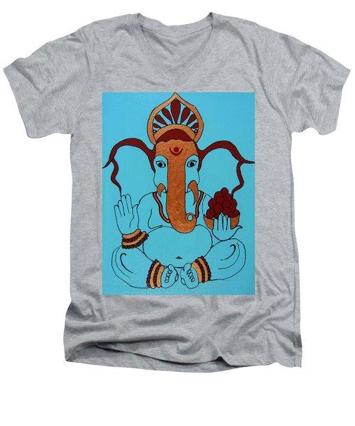 19 Lambakarna-large Eared Ganesha Men's V-Neck T-Shirt