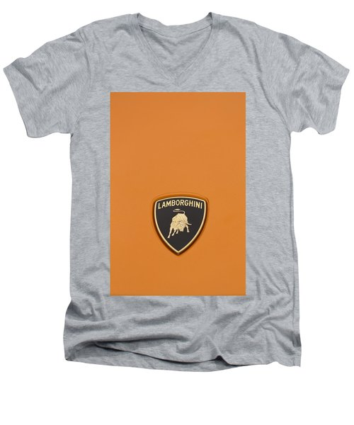 Lambo Hood Ornament Orange Men's V-Neck T-Shirt