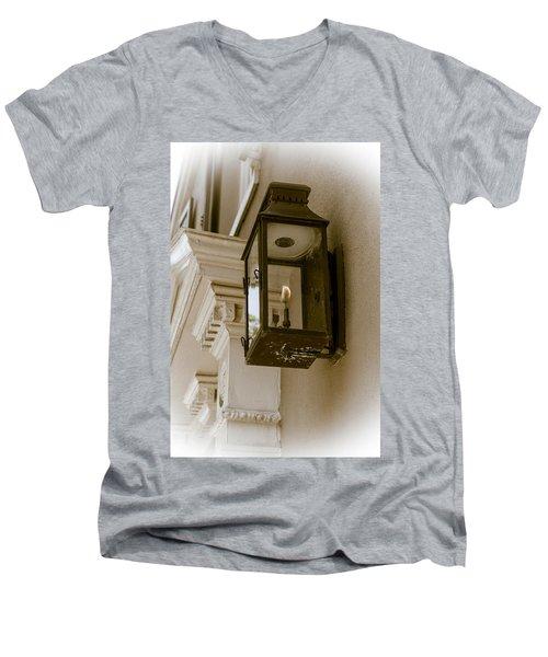 Men's V-Neck T-Shirt featuring the photograph Lamp Unto My Feet by Sennie Pierson