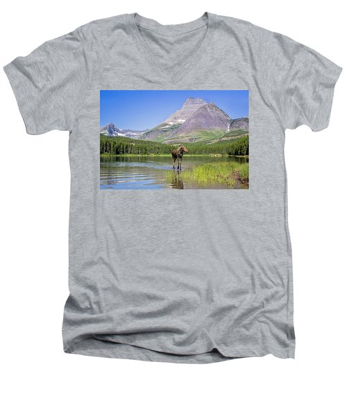 Land Of The Moose Men's V-Neck T-Shirt by Jack Bell