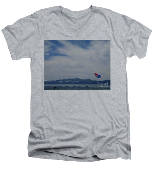 Men's V-Neck T-Shirt featuring the photograph Parasail Landing by Bobbee Rickard