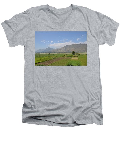 Men's V-Neck T-Shirt featuring the photograph Landscape Of Mountains Sky And Fields Swat Valley Pakistan by Imran Ahmed