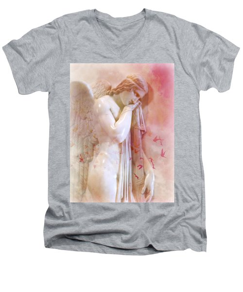 Men's V-Neck T-Shirt featuring the photograph L'angelo Celeste by Micki Findlay