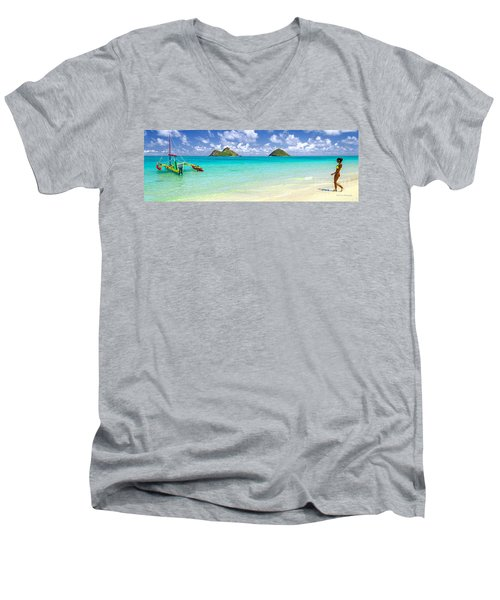 Men's V-Neck T-Shirt featuring the photograph Lanikai Beach Paradise 3 To 1 Aspect Ratio by Aloha Art