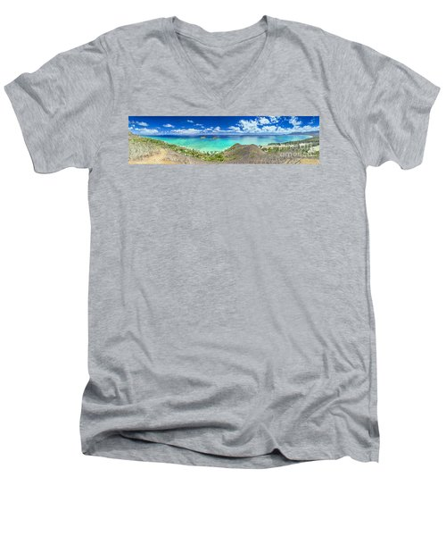 Men's V-Neck T-Shirt featuring the photograph Lanikai Bellows And Waimanalo Beaches Panorama by Aloha Art