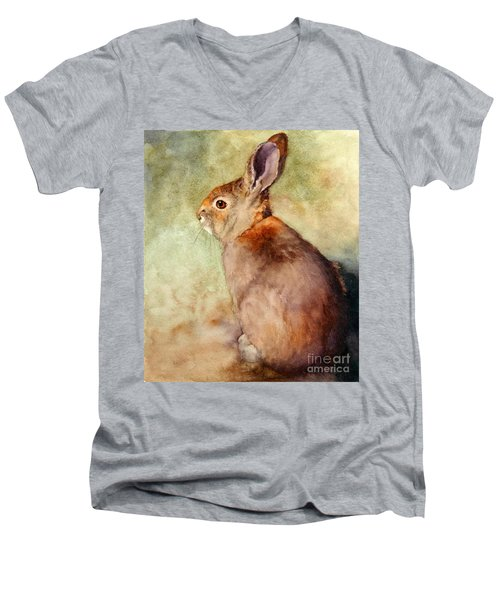 Men's V-Neck T-Shirt featuring the painting Lapin by Bonnie Rinier