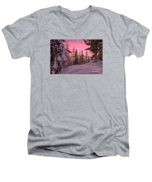 Lapland Sunset Men's V-Neck T-Shirt by IPics Photography