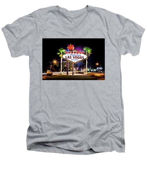 Las Vegas Sign Men's V-Neck T-Shirt by Az Jackson