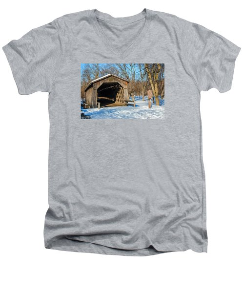 Last Covered Bridge Men's V-Neck T-Shirt by Susan  McMenamin