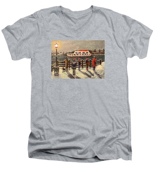 Men's V-Neck T-Shirt featuring the painting Last Ferry by Rita Brown