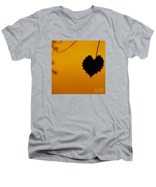 Men's V-Neck T-Shirt featuring the photograph Last Leaf Silhouette by Joy Hardee