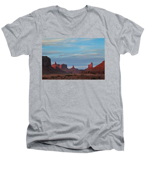 Men's V-Neck T-Shirt featuring the photograph Last Light In Monument Valley by Alan Vance Ley