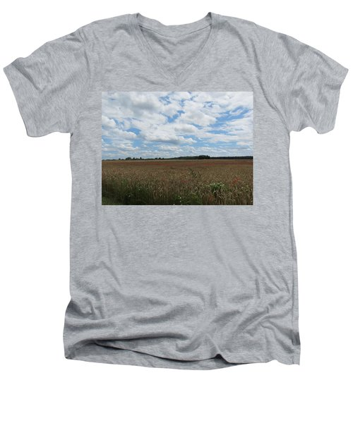 Men's V-Neck T-Shirt featuring the photograph Last Of The Poppies by Pema Hou