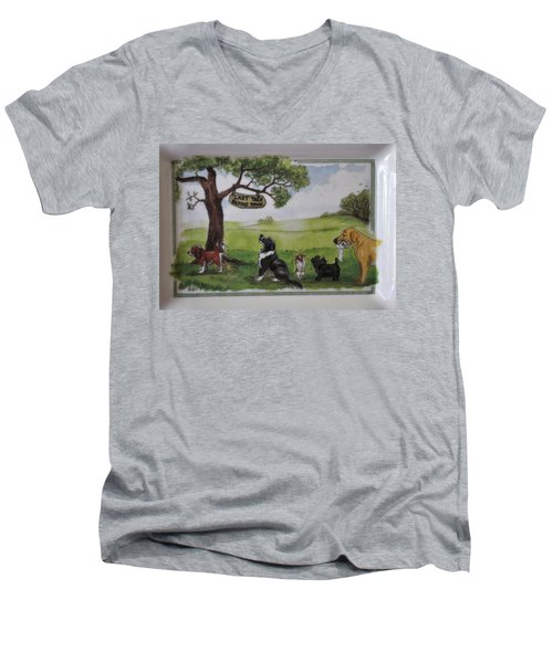 Last Tree Dogs Waiting In Line Men's V-Neck T-Shirt by Jay Milo
