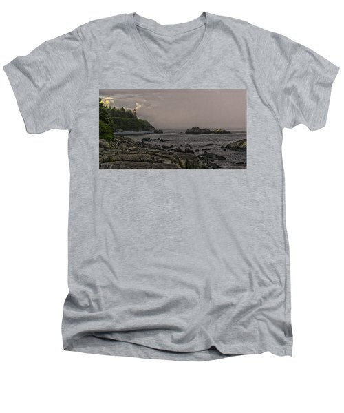 Men's V-Neck T-Shirt featuring the photograph Late Afternoon Sun On West Quoddy Head Lighthouse by Marty Saccone