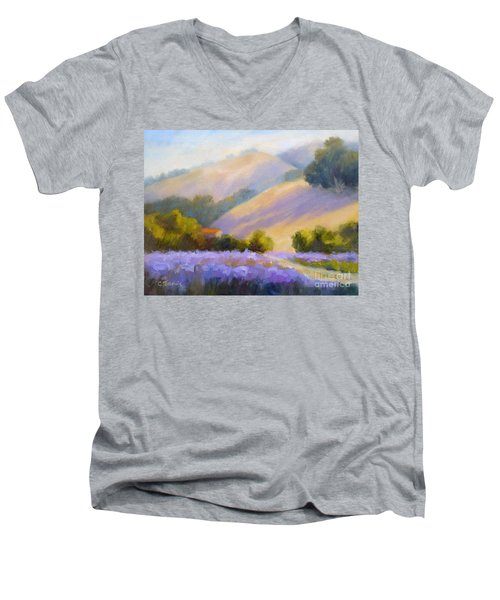 Late June Hills And Lavender Men's V-Neck T-Shirt