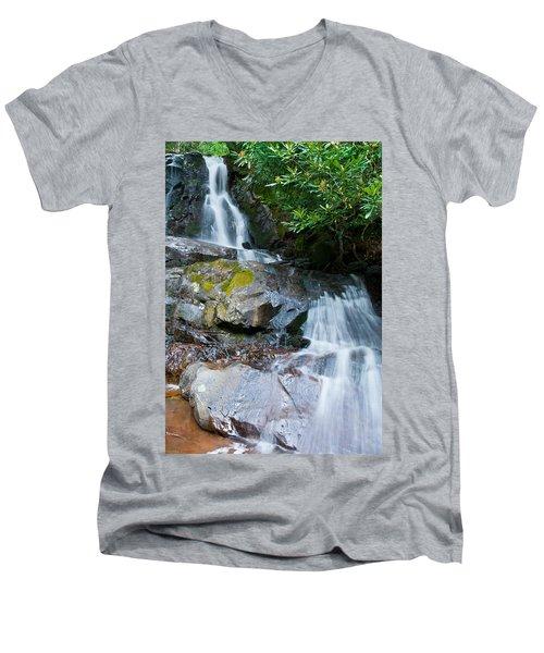Laurel Falls Men's V-Neck T-Shirt by Melinda Fawver