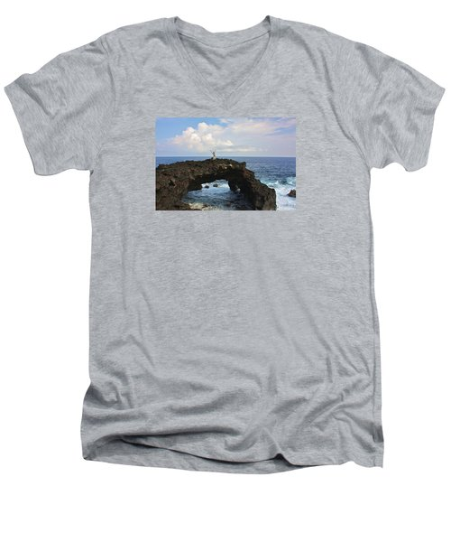 Lava Sea Arch In Hawaii Men's V-Neck T-Shirt by Venetia Featherstone-Witty