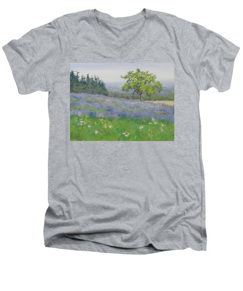 Men's V-Neck T-Shirt featuring the painting Lavender Afternoon by Karen Ilari