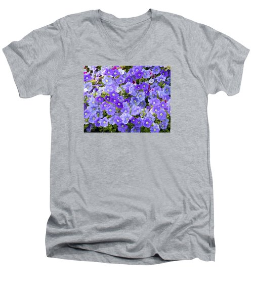 Men's V-Neck T-Shirt featuring the photograph Lavender And Purple by Mariarosa Rockefeller