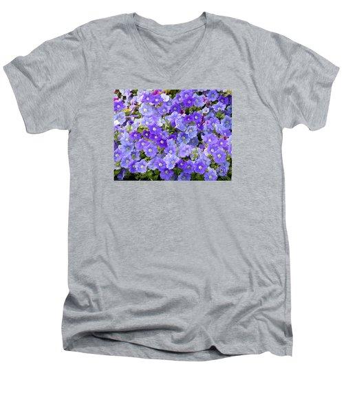 Lavender And Purple Men's V-Neck T-Shirt by Mariarosa Rockefeller