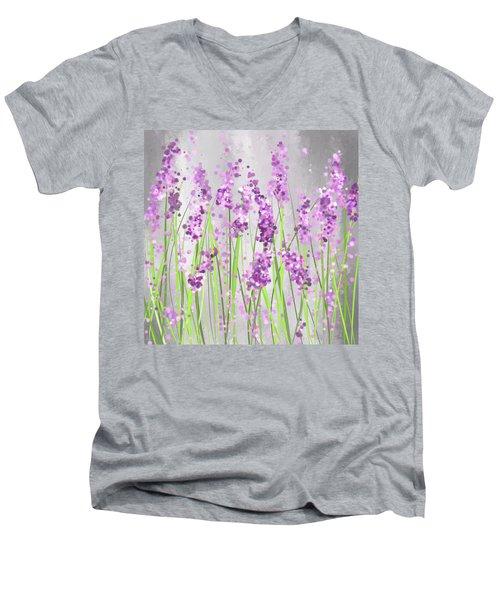 Lavender Blossoms - Lavender Field Painting Men's V-Neck T-Shirt