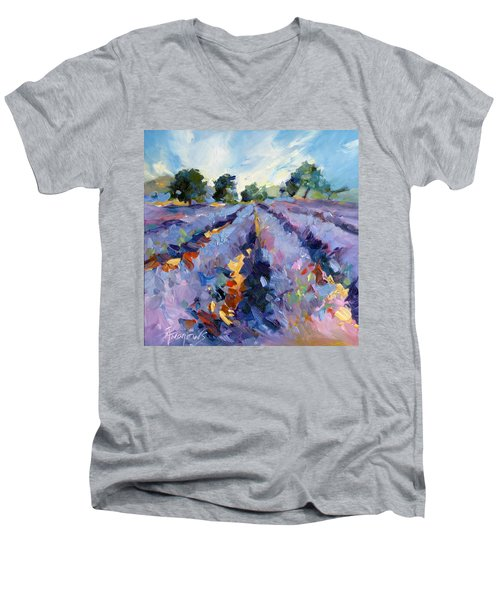 Men's V-Neck T-Shirt featuring the painting Lavender Blues by Rae Andrews