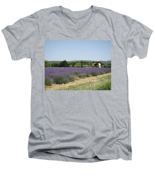 Lavender Farm Men's V-Neck T-Shirt by Pema Hou