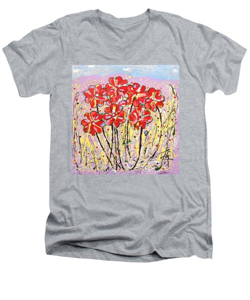Lavender Flower Garden Men's V-Neck T-Shirt