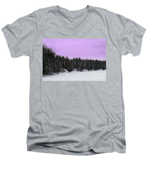 Men's V-Neck T-Shirt featuring the photograph Lavender Skies by Bianca Nadeau