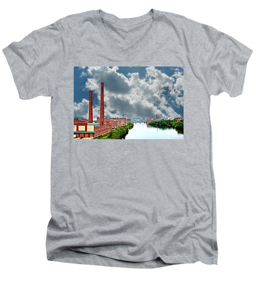 Lawrence Ma Skyline Men's V-Neck T-Shirt by Barbara S Nickerson