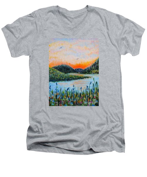Lazy River Men's V-Neck T-Shirt by Holly Carmichael