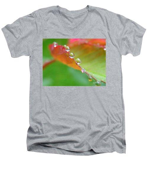 Leaf Pearls Men's V-Neck T-Shirt by Patti Whitten