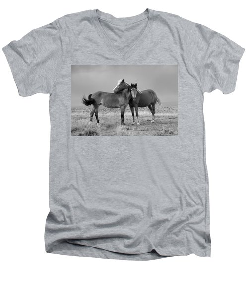 Lean On Me B And W Wild Mustang Men's V-Neck T-Shirt