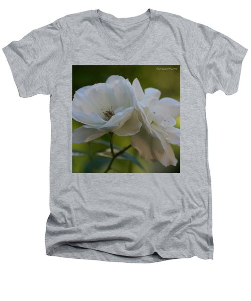 Lean On Me White Roses In Anna's Gardens Men's V-Neck T-Shirt