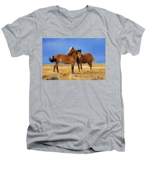 Lean On Me Wild Mustang Men's V-Neck T-Shirt