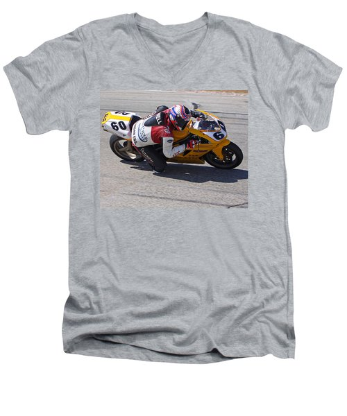 Men's V-Neck T-Shirt featuring the pyrography Leaning Into Speed by Shoal Hollingsworth