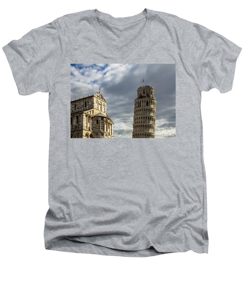 Leaning Tower And Duomo Di Pisa Men's V-Neck T-Shirt