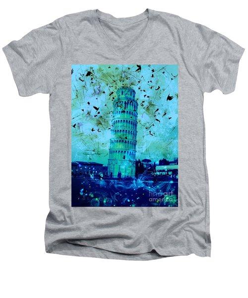 Leaning Tower Of Pisa 3 Blue Men's V-Neck T-Shirt