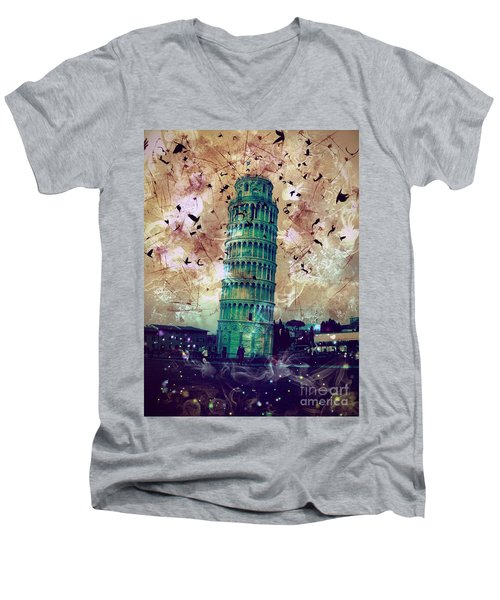 Leaning Tower Of Pisa 1 Men's V-Neck T-Shirt