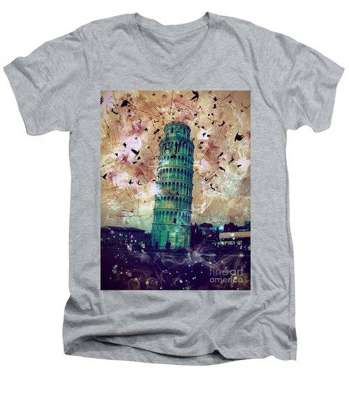 Leaning Tower Of Pisa 1 Men's V-Neck T-Shirt