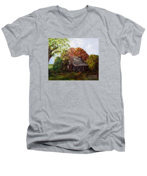 Men's V-Neck T-Shirt featuring the painting Leaves On The Cabin Roof by Eloise Schneider