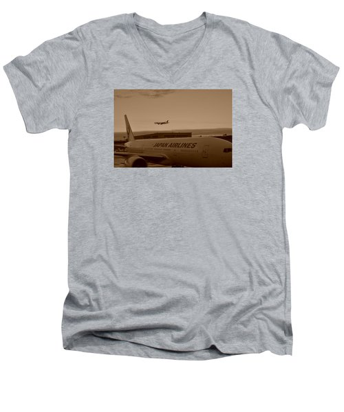 Leaving Japan Men's V-Neck T-Shirt by Miguel Winterpacht