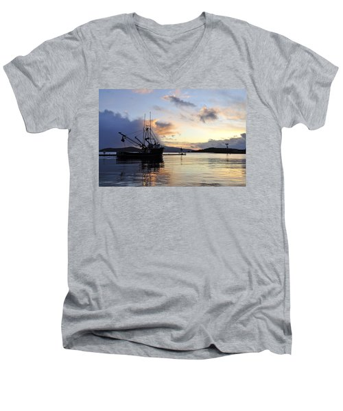 Men's V-Neck T-Shirt featuring the photograph Leaving Safe Harbor by Cathy Mahnke