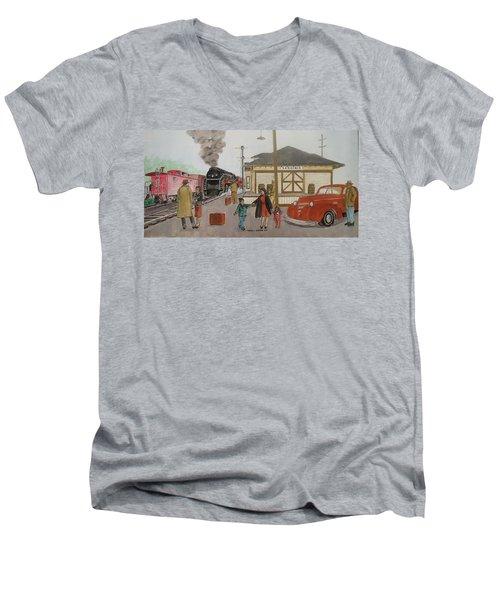 Leaving Sardinia 1944 Men's V-Neck T-Shirt