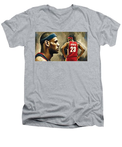 Lebron James Artwork 1 Men's V-Neck T-Shirt