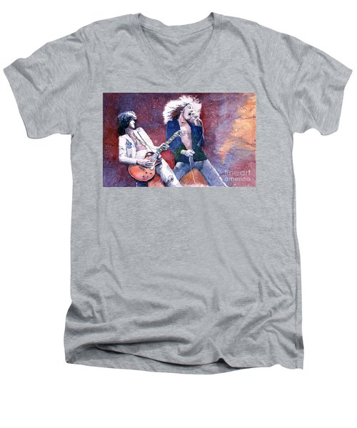 Led Zeppelin Jimmi Page And Robert Plant  Men's V-Neck T-Shirt