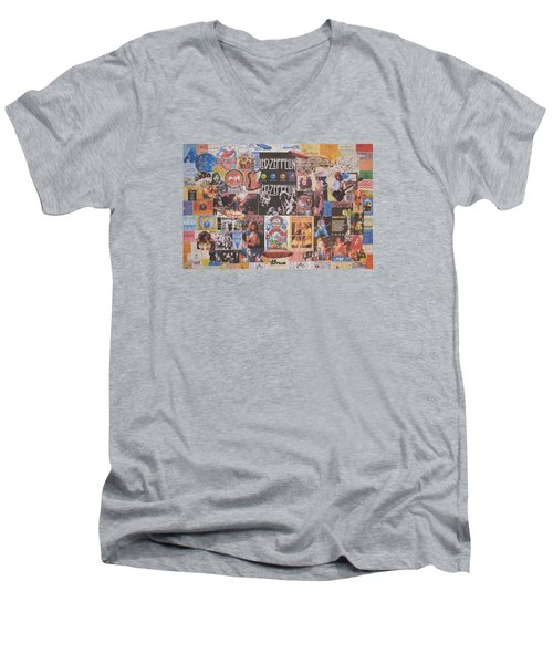 Led Zeppelin Years Collage Men's V-Neck T-Shirt by Donna Wilson
