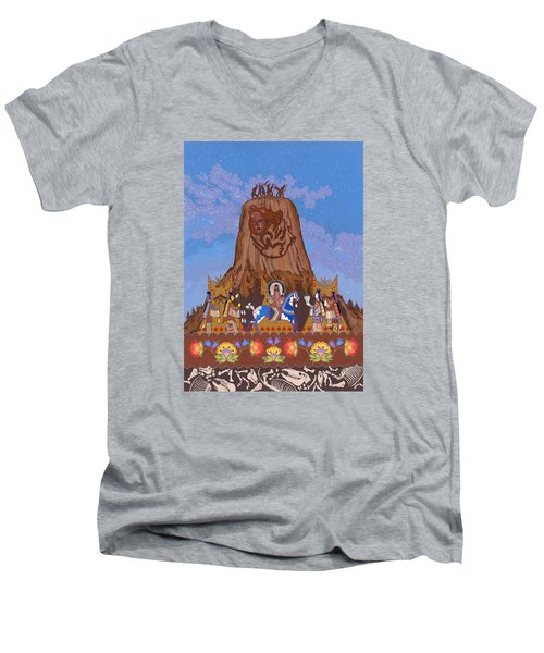 Men's V-Neck T-Shirt featuring the painting Legend Of Bear's Tipi by Chholing Taha